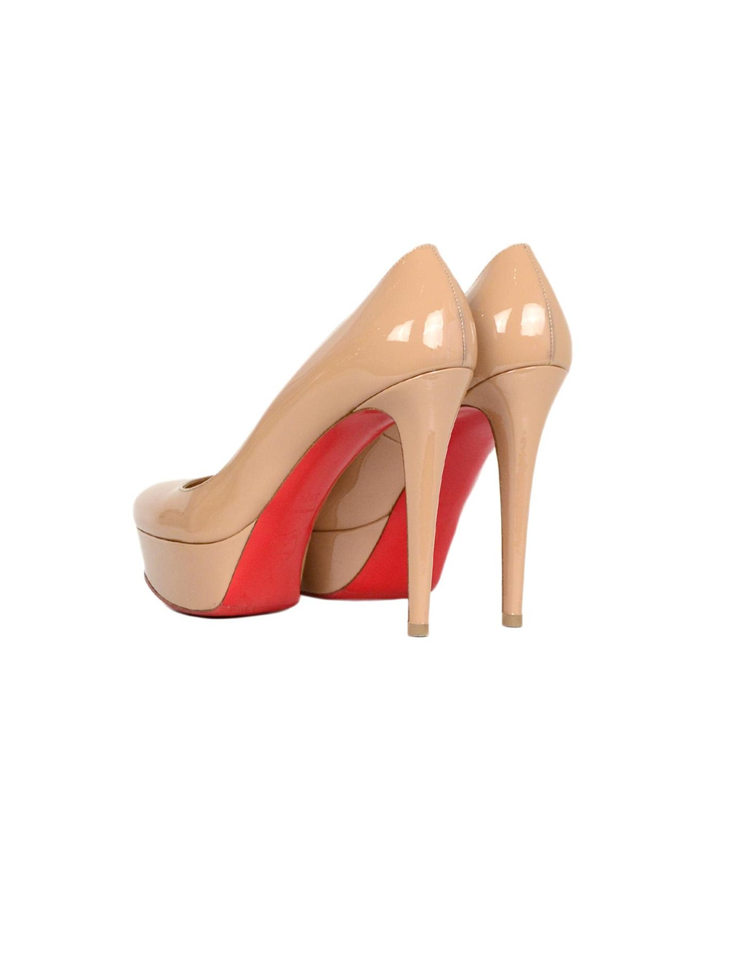 7e62f0dd2 Christian Louboutin Nude Patent Leather Bianca 140 Platform Pumps sz 39.5  For Sale at 1stdibs