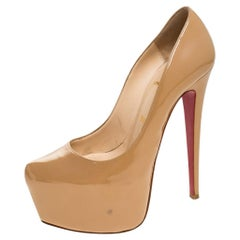 Christian Louboutin Nude Patent Leather Daffodile Platform Pumps Size 37