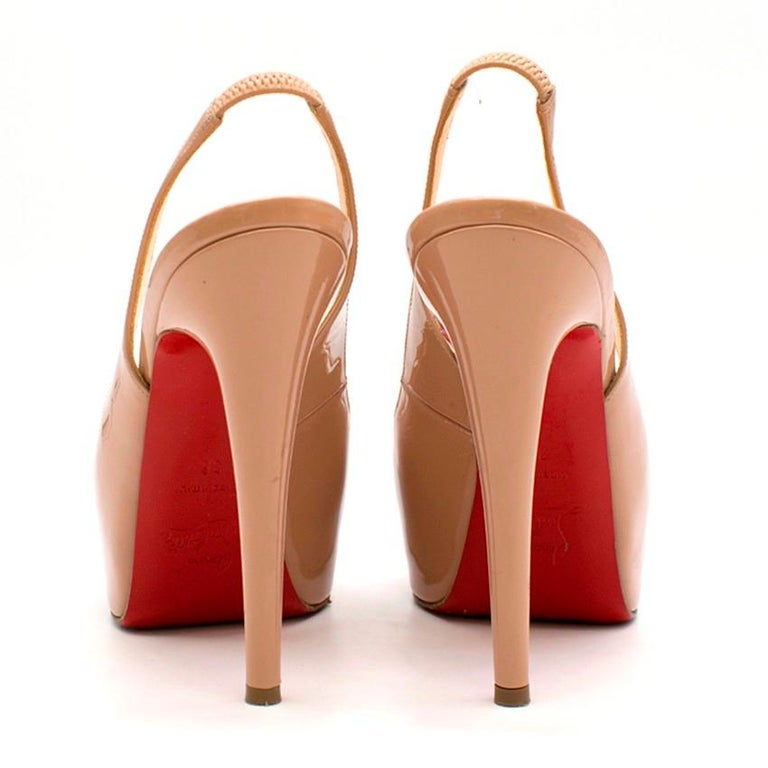 acheter populaire 5c314 8705c Christian Louboutin Nude Patent Leather Lady Peep Slingback Sandals Fr 36