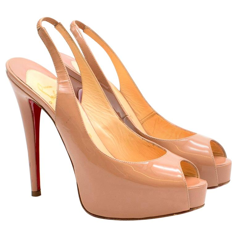 acheter populaire 7448a 5bcac Christian Louboutin Nude Patent Leather Lady Peep Slingback Sandals Fr 36