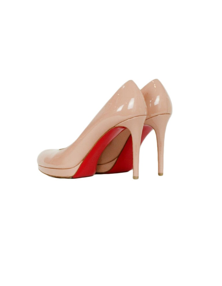 Beige Christian Louboutin Nude Patent Leather New Simple 100 Pumps sz 38.5  rt. $795 For Sale