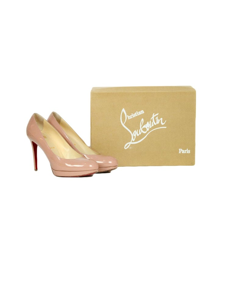 Christian Louboutin Nude Patent Leather New Simple 100 Pumps sz 38.5  rt. $795 For Sale 1