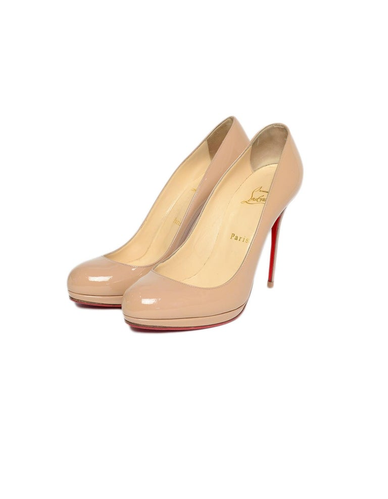 buy popular 9650e 664df Christian Louboutin Nude Patent Leather New Simple 120 Pumps sz 39.5