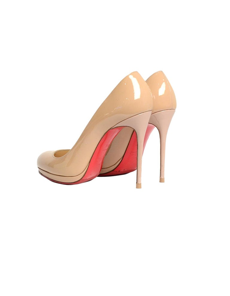 buy popular 8f19f ff791 Christian Louboutin Nude Patent Leather New Simple 120 Pumps sz 39.5