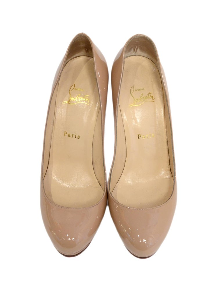 3d2f122db5 Women's Christian Louboutin Nude Patent Leather New Simple 120 Pumps sz  39.5 For Sale