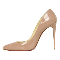 Christian Louboutin Nude Patent Leather Pigalle Follies 100 Pumps sz 38.5