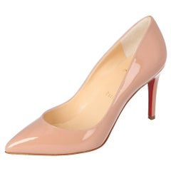 Christian Louboutin Nude Patent Leather Pigalle Pointed Toe Pumps Size 38.5