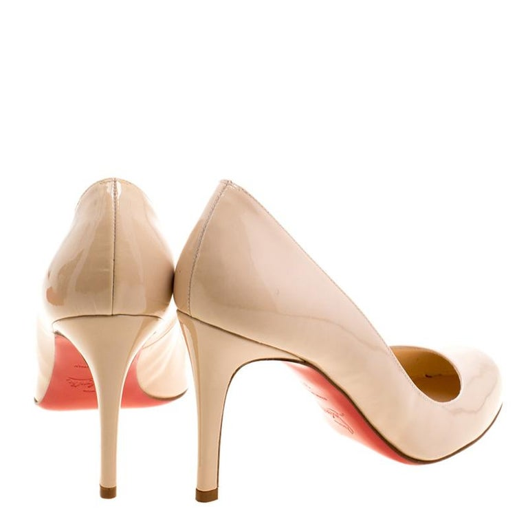 c5eec7495ac Beige Christian Louboutin Nude Patent Leather Simple Pumps Size 37 For Sale