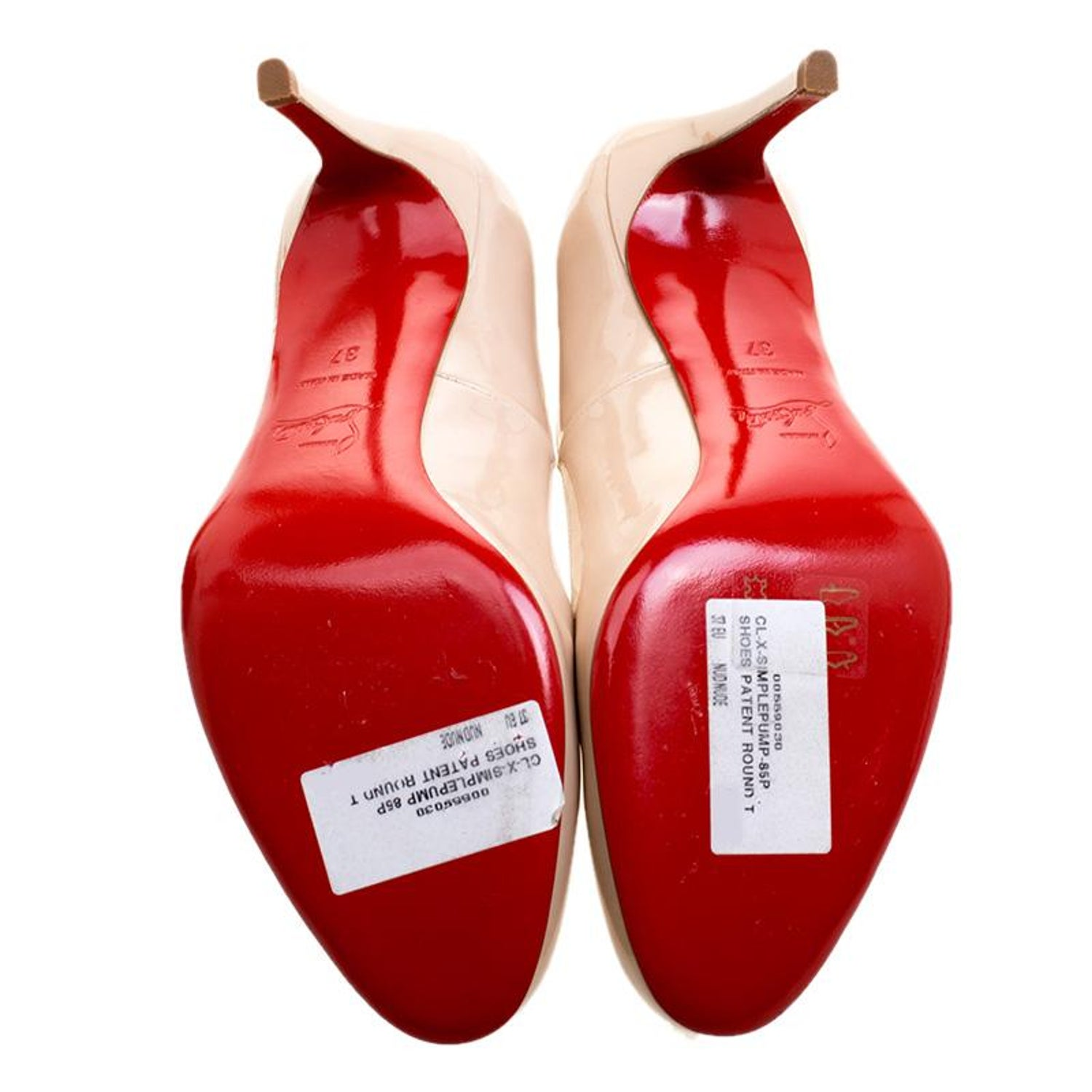 7a0c3a65cea Christian Louboutin Nude Patent Leather Simple Pumps Size 37 For Sale at  1stdibs