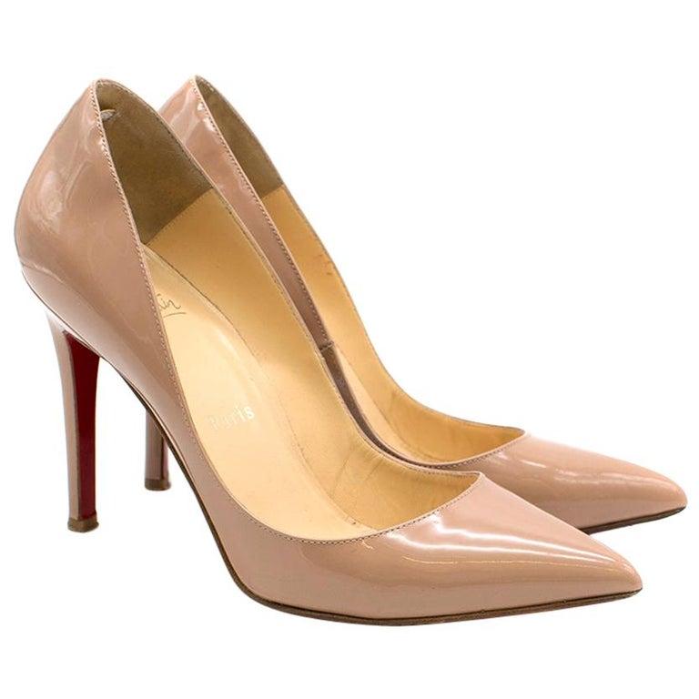 the latest b3b43 4ab8b Christian Louboutin Nude Patent Leather So Kate 100mm Pumps SIZE 37