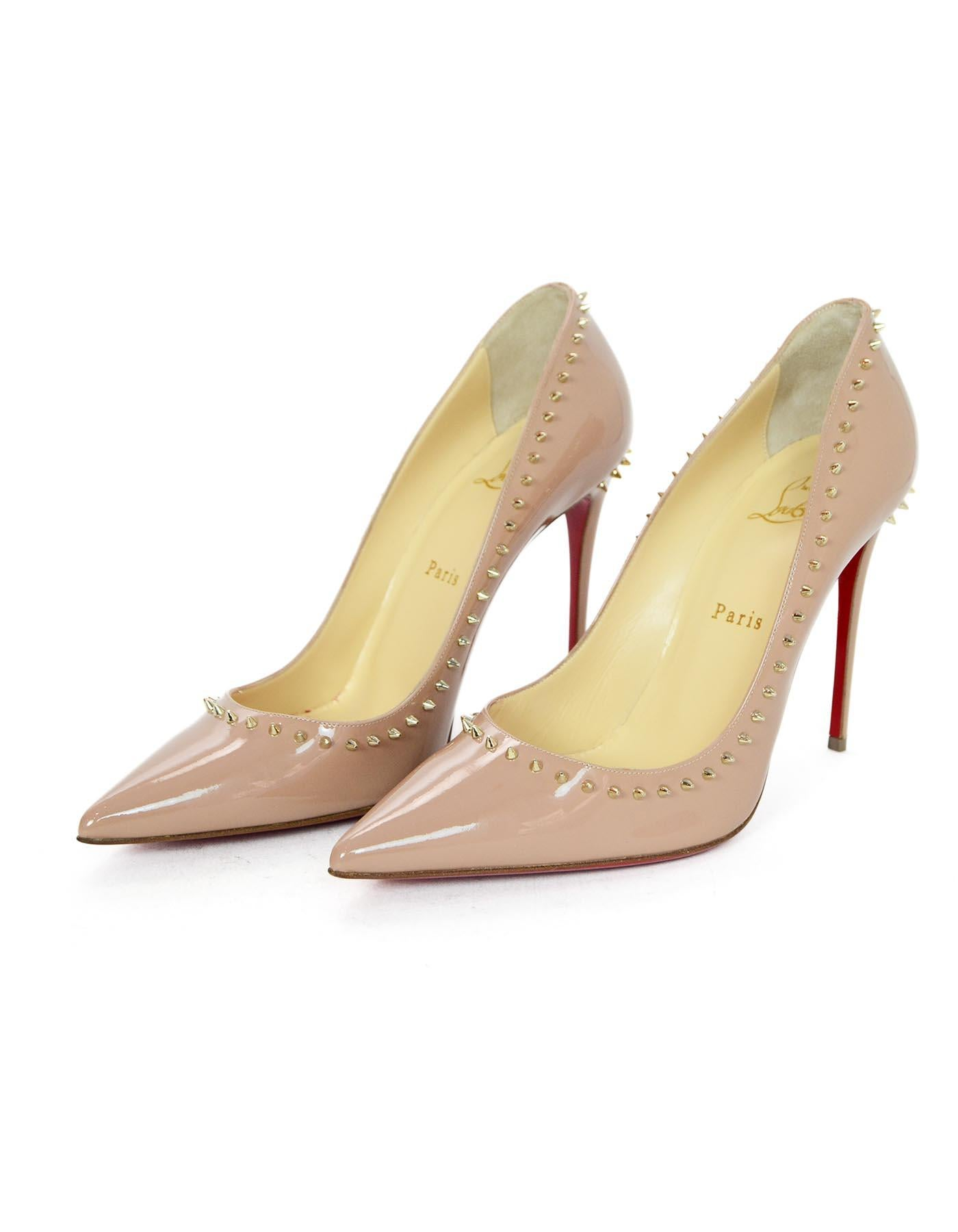 7e07ea75cc18 Christian Louboutin Nude Patent Leather Studded Anjalina 100mm Pumps Sz  39.5 For Sale at 1stdibs