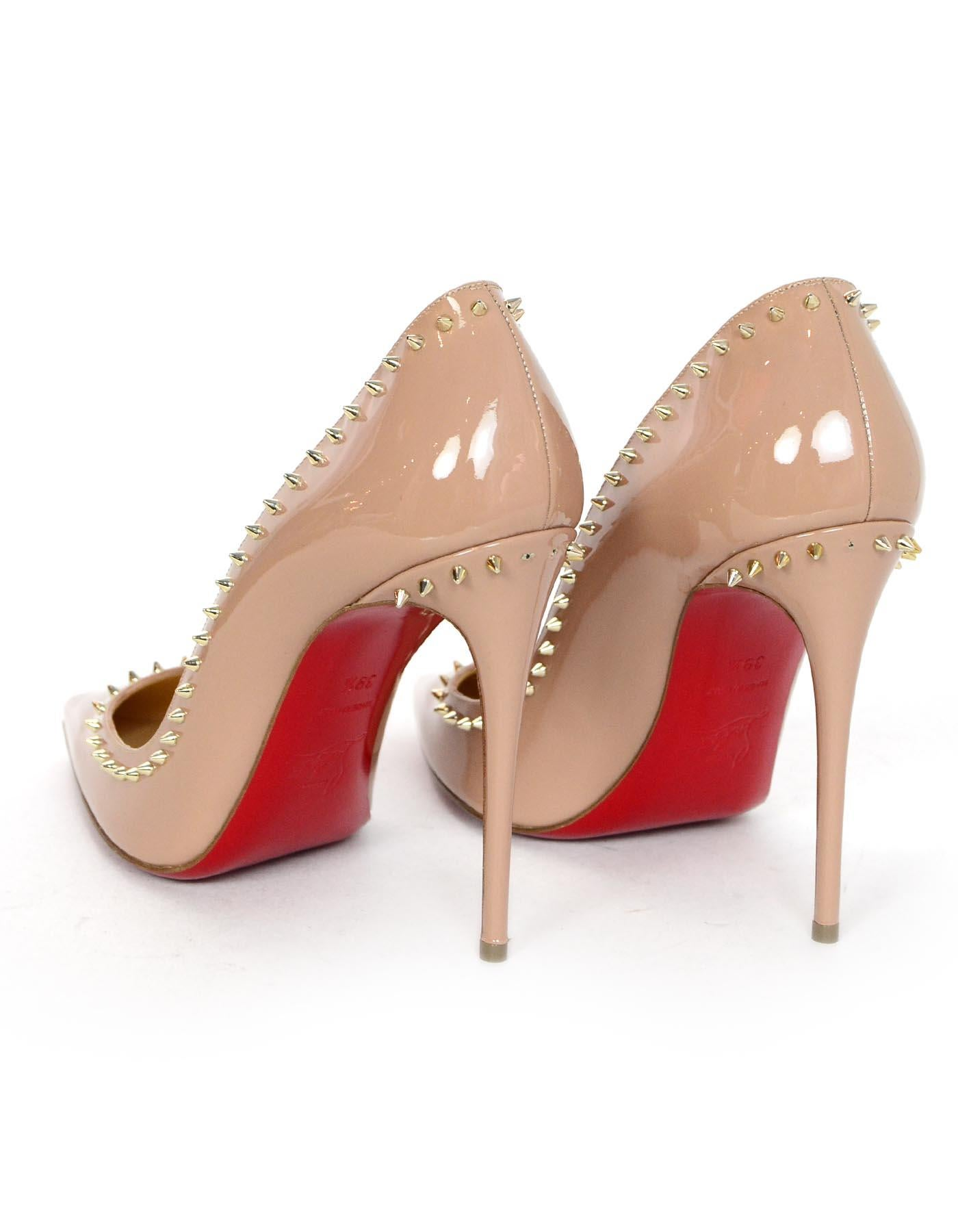 separation shoes ea573 e9275 Christian Louboutin Nude Patent Leather Studded Anjalina 100mm Pumps Sz 39.5