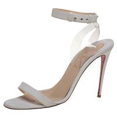 Christian Louboutin Off White Leather And PVC Jonatina Sandals Size 41