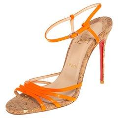 Christian Louboutin Orange Leather Belbride Ankle Strap Sandals Size 38.5
