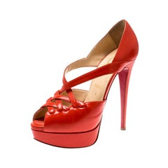 Christian Louboutin Orange Leather Platform Sandals Size 38.5