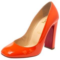 Christian Louboutin Orange Patent Leather Square Toe Pumps Size 38