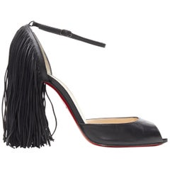 CHRISTIAN LOUBOUTIN Otrot 110 black leather fringe heel peep toe pumps EU37