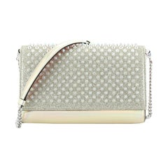 Christian Louboutin Paloma Clutch Holographic Spiked Leather