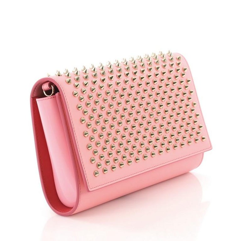 Pink Christian Louboutin Paloma Clutch Spiked Leather For Sale