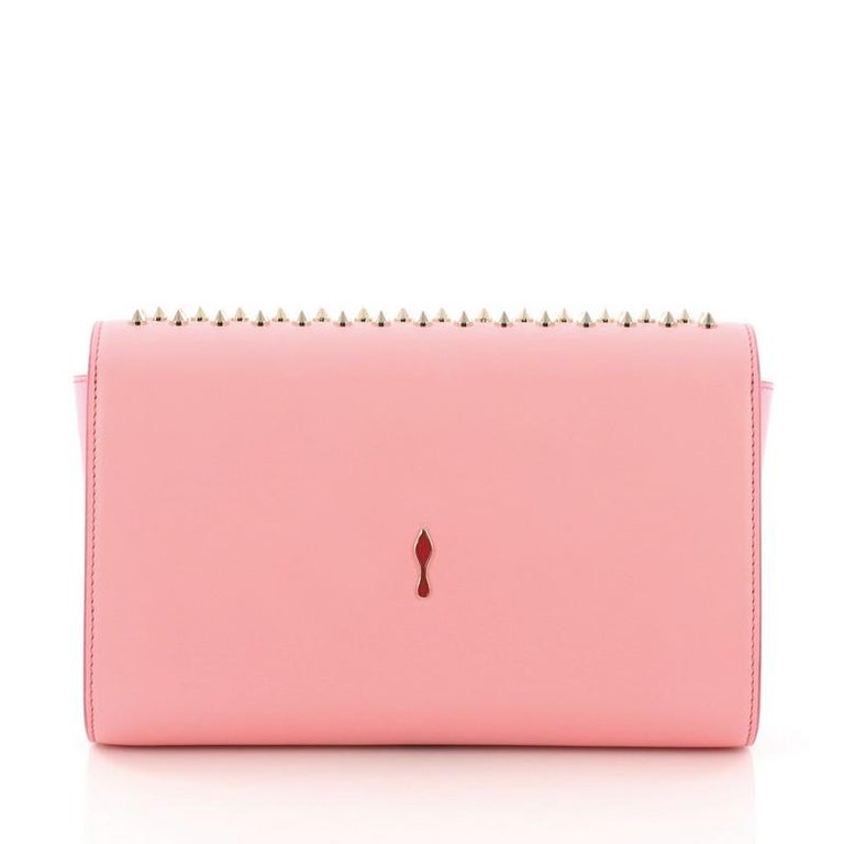 Christian Louboutin Paloma Clutch Spiked Leather In Good Condition For Sale In New York, NY
