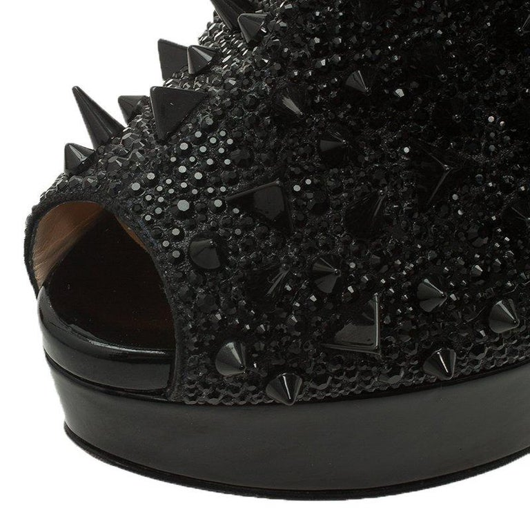ab7fc591705 Christian Louboutin Patent Bridget's Back Spike Peep Toe Ankle Boots Size 37