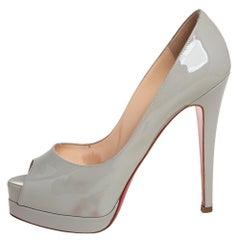 Christian Louboutin Patent Leather Altadama Peep Toe Platform Pumps Size 36.5