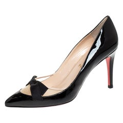 Christian Louboutin Patent Leather and Mesh Bow Pointed Toe Pumps Size 36.5