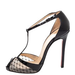 Christian Louboutin Patent Leather And Mesh Lagoula T-Strap Pumps Size 36.5