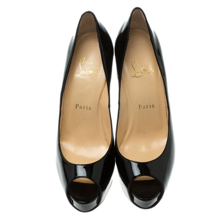 Black Christian Louboutin Patent Leather Chain Metal Heel Peep Toe Pumps Size 37.5 For Sale