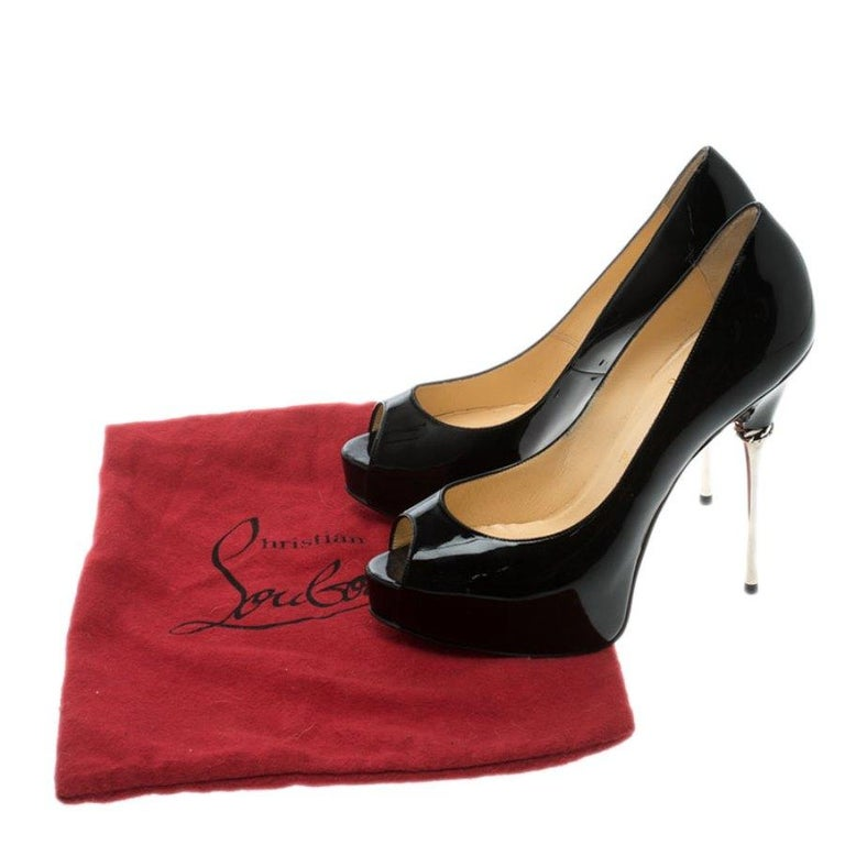 Christian Louboutin Patent Leather Chain Metal Heel Peep Toe Pumps Size 37.5 For Sale 3