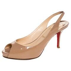 Christian Louboutin Patent Leather Peep Toe Slingback Sandals Size 37