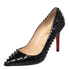 Christian Louboutin Patent Leather Pigalle Spikes Pointed Toe Pumps Size 37