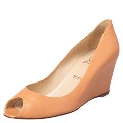 Christian Louboutin Peach Leather Peep Toe Wedge Pumps Size 38.5