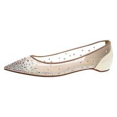 Christian Louboutin Pearl White Follies Strass Ballet Flats Size 35