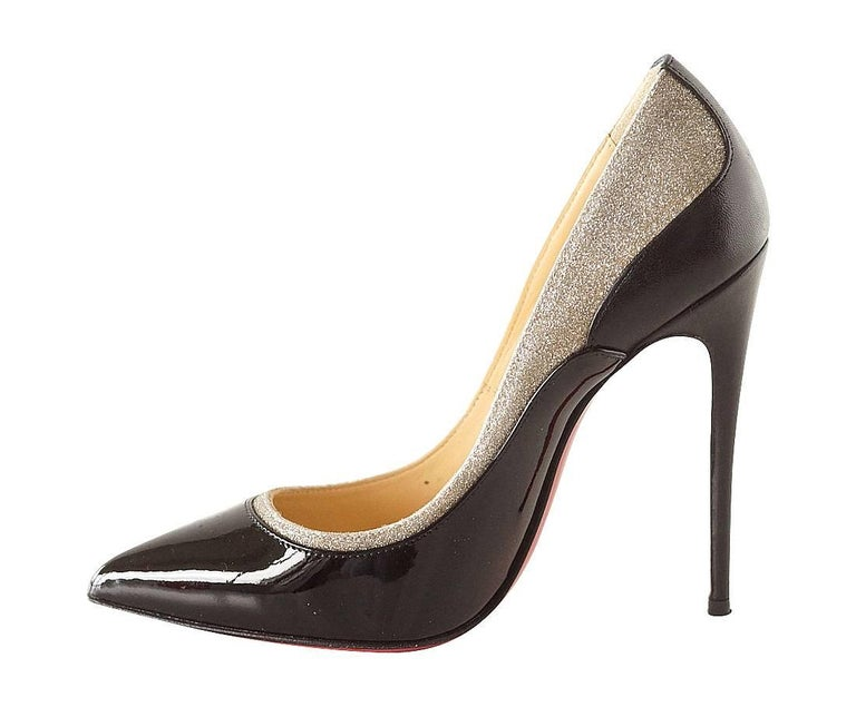 Christian Louboutin Pigalle Black Patent Shoe with Glitter In Excellent Condition For Sale In Miami, FL