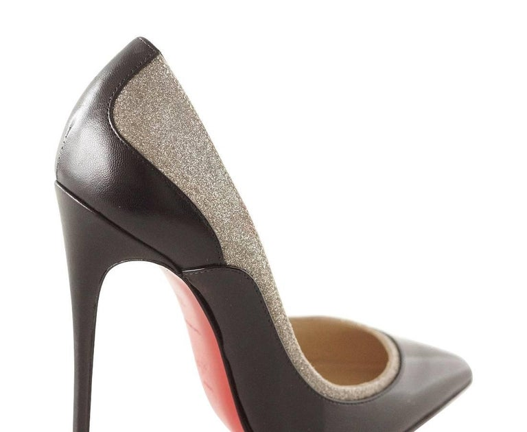 Women's Christian Louboutin Pigalle Black Patent Shoe with Glitter For Sale