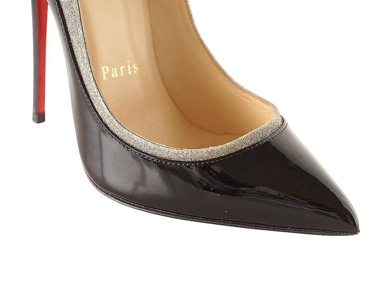 Christian Louboutin Pigalle Black Patent Shoe with Glitter For Sale 1