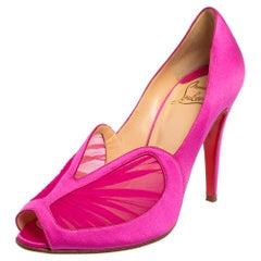 Christian Louboutin Pink Crepe Satin Peep Toe Pumps Size 39.5