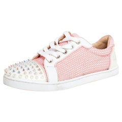 Christian Louboutin Pink Fabric Spiked Louis Junior Sneakers Size 37