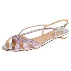 Christian Louboutin Pink Metallic Leather Lady Embellished Flats Size 36