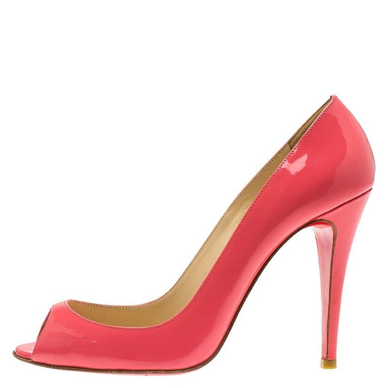 fd63931935f Women s Christian Louboutin Pink Patent  Sexy  Peep Toe Pumps Size 37 For  Sale