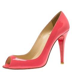Christian Louboutin Pink Patent 'Sexy' Peep Toe Pumps Size 37