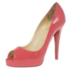 Christian Louboutin Pink Patent Very Prive Peep Toe Pumps Size 37
