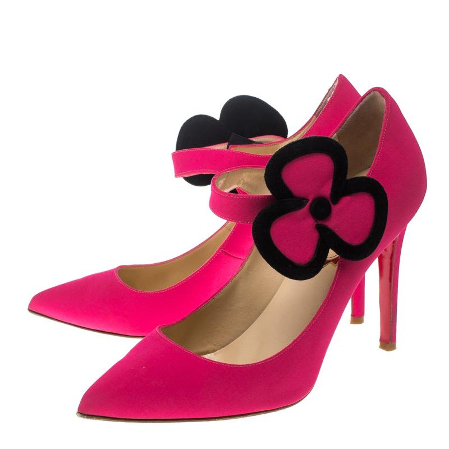 37e9c4911 Christian Louboutin Pink Satin Pensee Mary Jane Pumps Size 39 For Sale at  1stdibs