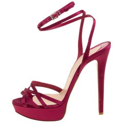 Christian Louboutin Pink Satin Platform Ankle Wrap Sandals Size 38
