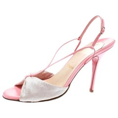 Christian Louboutin Pink Silk And Leather Peep Toe Slingback Sandals Size 40