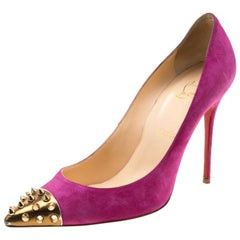 Christian Louboutin Pink Suede Geo Spike Studded Cap Toe Pumps Size 39.5