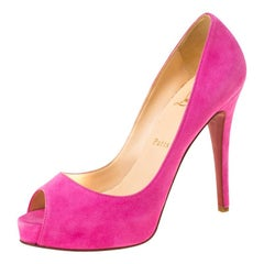 Christian Louboutin Pink Suede Hyper Prive Peep Toe Platform Pumps Size 37