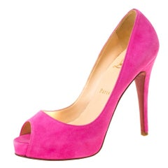Christian Louboutin Pink Suede Hyper Prive Peep Toe Platform Pumps Size 37
