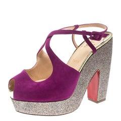 Christian Louboutin Pink Suede Martel Peep Toe Platform Sandals Size 40.5